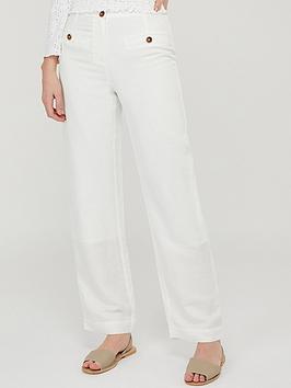 Monsoon Monsoon Charlotte Short Length Linen Trousers - White Picture