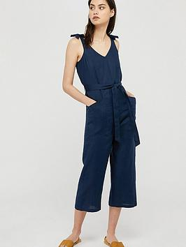 Monsoon Monsoon Carletta 100% Linen Jumpsuit - Navy Picture