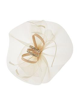Monsoon Monsoon Grace Glitter Feather Fascinator - Nude Picture