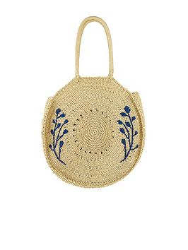 Monsoon Monsoon Florence Floral Embroidered Straw Bag - Natural Picture