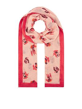 Monsoon Monsoon Betty Brushstroke Recycled Polyester Scarf - Pink Picture