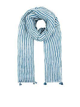 Monsoon Monsoon Sanya Stripe Linen Lightweight Scarf - Blue Picture