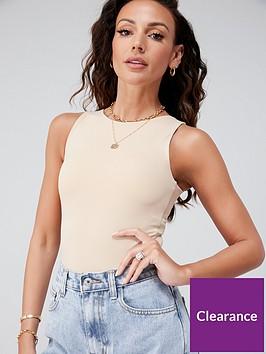 michelle-keegan-minimal-jersey-bodysuit-tan