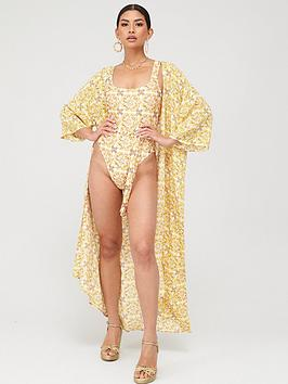 in-the-style-in-the-style-x-billie-faiers-tile-print-maxi-kimono-mustard
