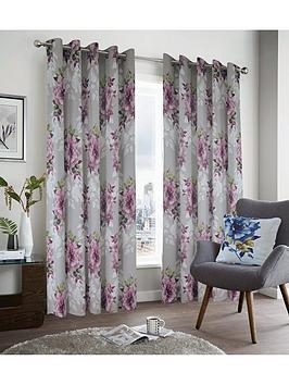 Very Dark Wonders Lined Eyelet Curtains Picture