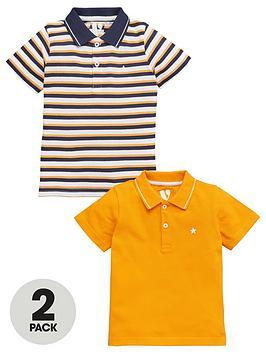 V by Very V By Very Boys 2 Pack Stripe/ Plain Polo Shirts - Navy Picture