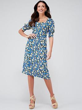 Michelle Keegan Button Through Printed Midi Dress - Floral