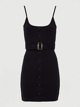 missguided-missguided-ribbed-belted-button-strappy-mini-dress-black