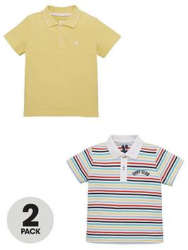 V by Very V By Very Boys 2 Pack Stripe And Plain Polo Shirts - Multi Picture