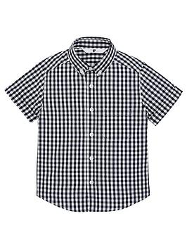 V by Very V By Very Boys Short Sleeved Gingham Checked Shirt - Black Picture