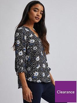 dorothy-perkins-petite-cobalt-daisy-dot-roll-sleeve-blouse-black