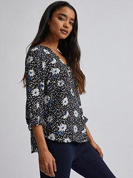 Dorothy Perkins Dorothy Perkins Petite Cobalt Daisy Dot Roll Sleeve Blouse  ... Picture