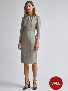 dorothy-perkins-check-high-neck-dress-multi