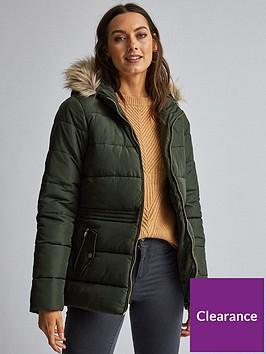dorothy-perkins-short-padded-coat-olive-green