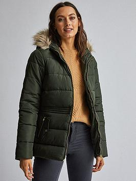 Dorothy Perkins Dorothy Perkins Short Padded Coat - Olive Green Picture