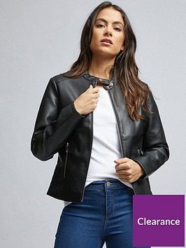 dorothy-perkins-dorothy-perkins-petite-faux-leather-collarless-jacket-black