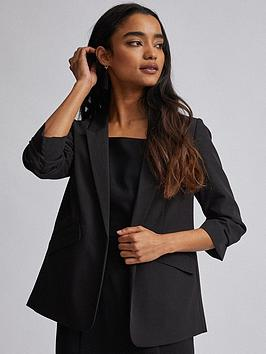 Dorothy Perkins Dorothy Perkins Dorothy Perkins Petite Black Ruched Sleeve  ... Picture