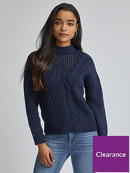 dorothy-perkins-petite-cable-jumper-navy