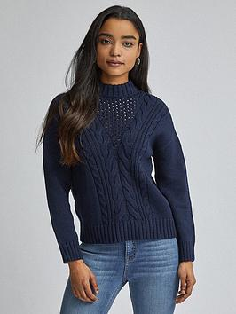 Dorothy Perkins Dorothy Perkins Petite Cable Jumper - Navy Picture
