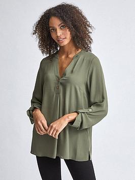 Dorothy Perkins Dorothy Perkins Double Button Roll Sleeve Blouse - Khaki Picture