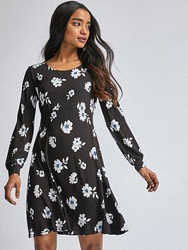 Dorothy Perkins Dorothy Perkins Petite Cobalt Daisy Empire Dress - Black Picture