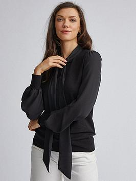 Dorothy Perkins Dorothy Perkins Dorothy Perkins Black Pussybow 2In1 Jumper Picture