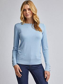 Dorothy Perkins Dorothy Perkins Button Cuff Jumper - Blue Picture