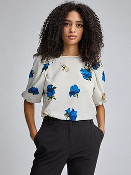 Dorothy Perkins Dorothy Perkins Floral Puff Sleeve Blouse - Cream/Blue Picture