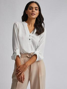 dorothy-perkins-double-button-roll-sleeve-blouse-ivory