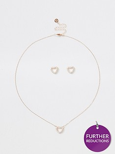 river-island-river-island-cubic-zirconia-heart-earring-and-necklace-gift-set-rose-gold