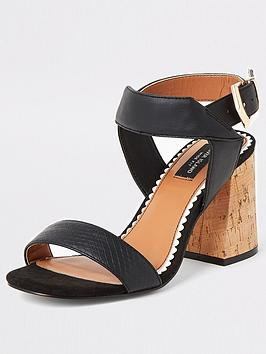 River Island River Island Wide Fit Two Part Cork Sandals - Black Picture
