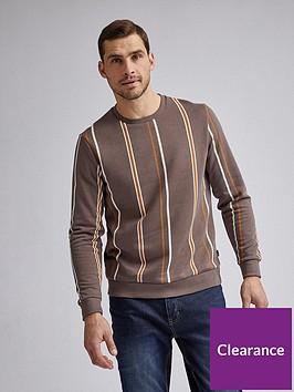 burton-menswear-london-vertical-stripe-crew-neck-sweatshirt-brown