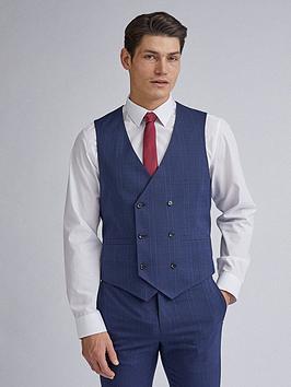 burton-menswear-london-highlight-check-skinny-fit-waistcoat-navy
