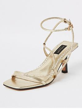 River Island River Island Wide Fit Strappy Low Heel Sandals - Gold Picture
