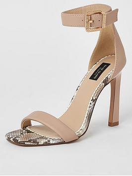 River Island River Island Wide Fit Two Part High Sandals - Neutral Picture