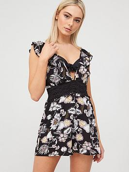 River Island River Island Floral Plunge Beach Playsuit - Black Picture