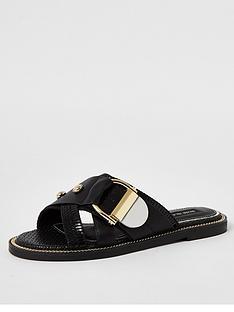 river-island-buckle-slip-on-mule-sandals-black
