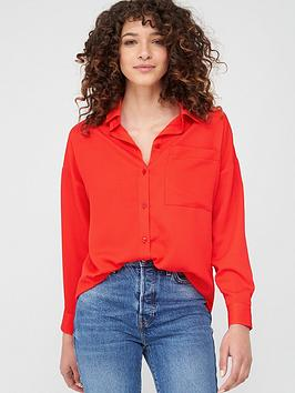V by Very V By Very Relaxed Longline Shirt - Red Picture