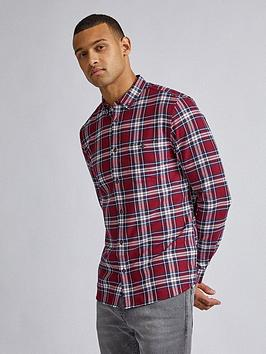 burton-menswear-london-baldwin-check-long-sleeve-shirt-burgundynbsp