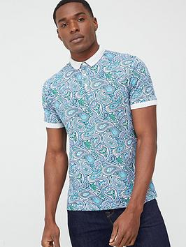 Pretty Green Pretty Green Marshall All Over Print Paisley Polo Shirt -  ... Picture