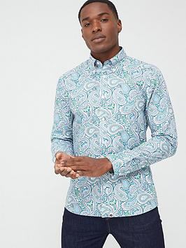 Pretty Green Pretty Green Marshall All Over Print Paisley Slim Fit Shirt -  ... Picture