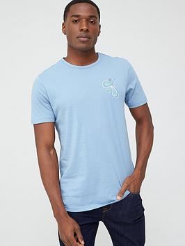 Pretty Green Pretty Green Marshall Paisley Chest Logo T-Shirt - Blue Picture
