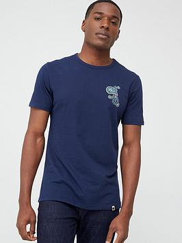 Pretty Green Pretty Green Marshall Paisley Chest Logo T-Shirt - Navy Picture