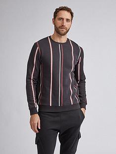 burton-menswear-london-vertical-stripe-crew-neck-sweatshirt-blacknbsp