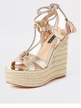 River Island River Island River Island Metallic Tie Up Wedge - Gold Picture