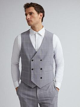 Burton Menswear London   Check Slim Fit Suit Waistcoat &Ndash; Grey