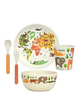 Very Petit Collage Bamboo Baby Dinnerware Set - Our World Picture