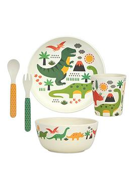 Very Petit Collage Bamboo Baby Dinnerware Set - Dinosaurs Picture