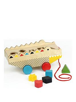 Very Petit Collage Rock N Roll Alligator Pull Along Shape Sorter Picture