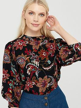 Monsoon Monsoon Danny Paisley Print Top - Black Picture